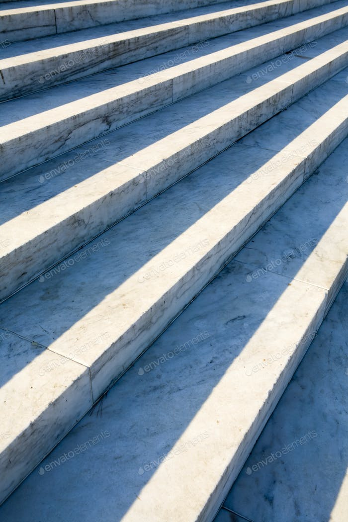 Marble Steps in sunlight and shade