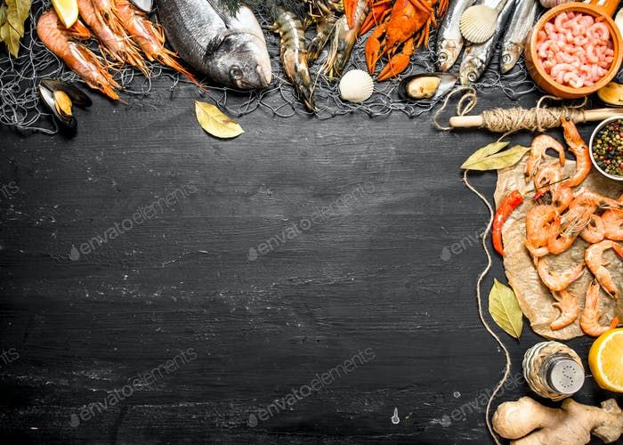 Fresh seafood. Sea food with spices and herbs.