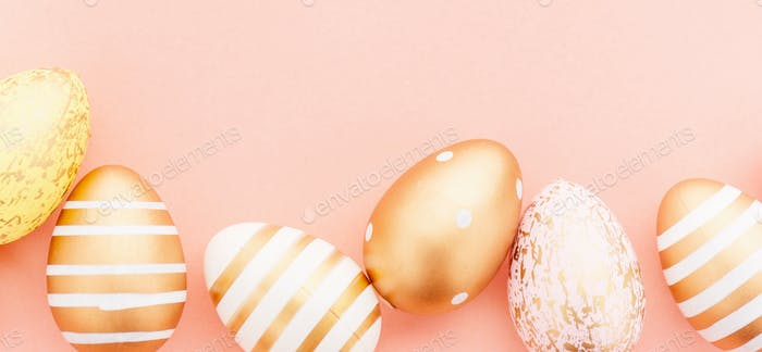 Easter Flat Lay of Eggs on pink