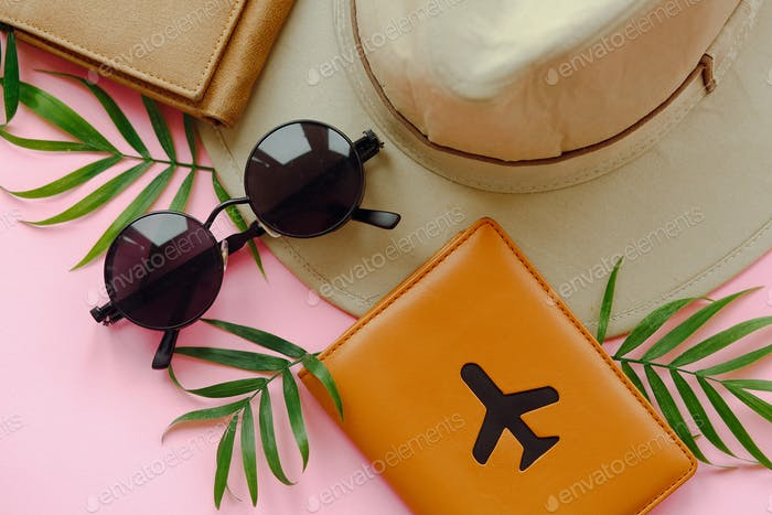 Summer vacation concept, flat lay with space for text