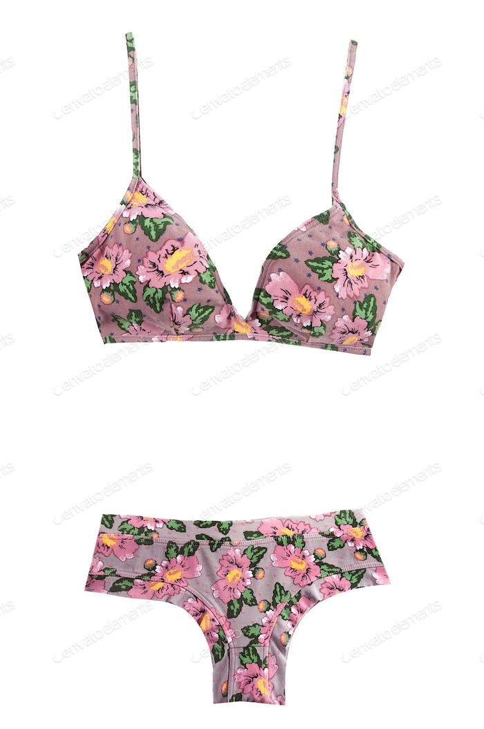 Pink flowers and stars pattern bikini