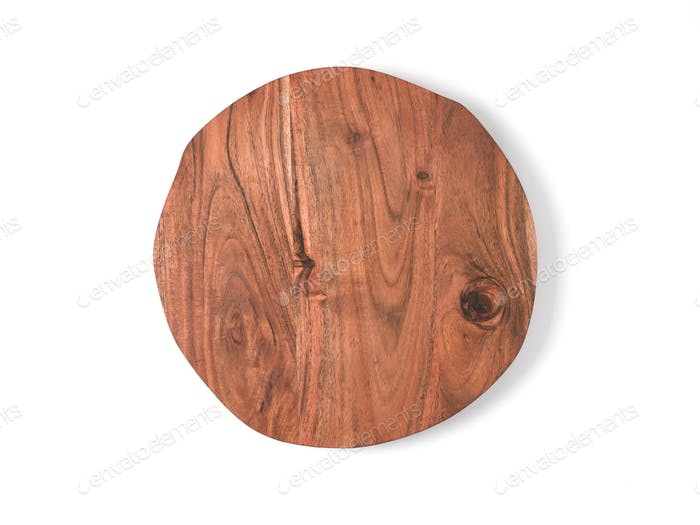 Round wooden tray isolated on white background