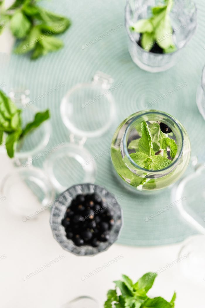 Infused water with mint and berries