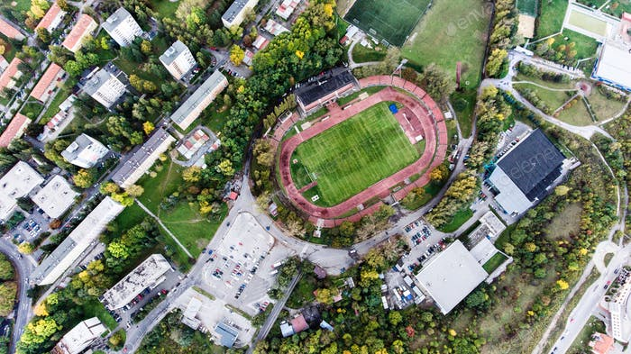 Aerial view of football stadium in town, Banska Bystrica, Slovak