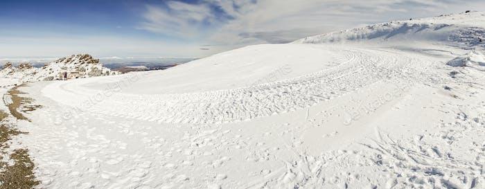 Ski resort of Sierra Nevada in winter, full of snow