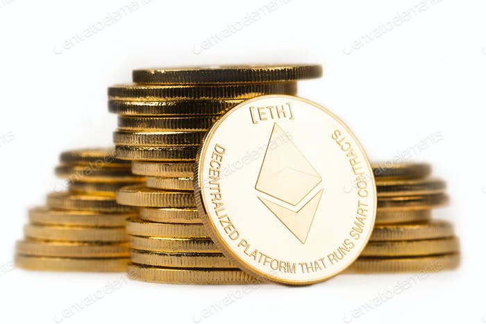golden ethereum in front of a pile of golden metallic coins on w