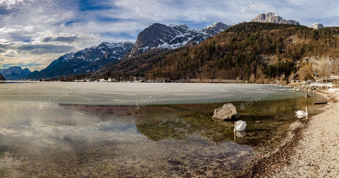 Clear Cold Panorama Landscape with blue sky at Grundlsee, Austria. Copy Space