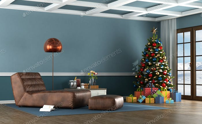 Living room of a mountain house with Christmas tree