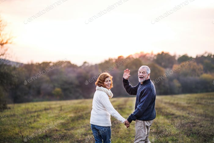 Senior couple walking in an autumn nature, holding hands.