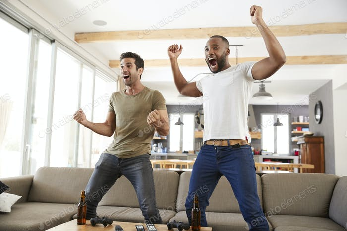Two Excited Male Friends Celebrate Watching Sports On Television