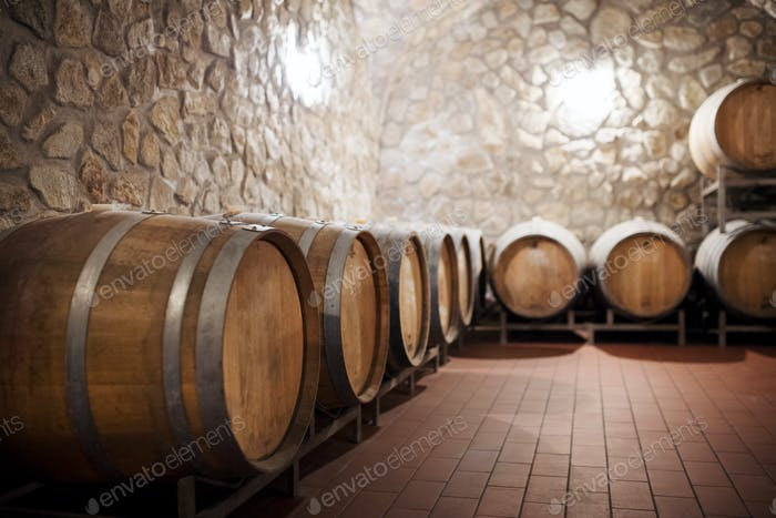Barrels in cellar, wine making concept. Copy space