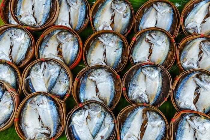 Fish in barrels for sell at market in Bangkok