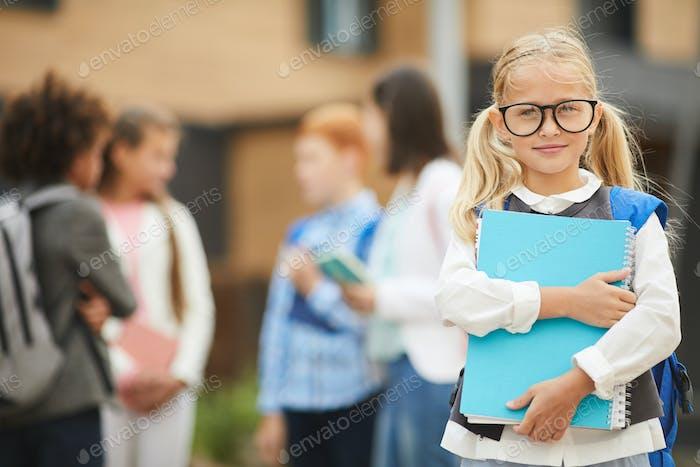 Schoolgirl studying at school