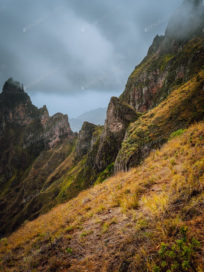 Moody view of Xo-Xo Valley, Santo Antao Island, Cape Verde Cabo Verde. Rugged mountain peak