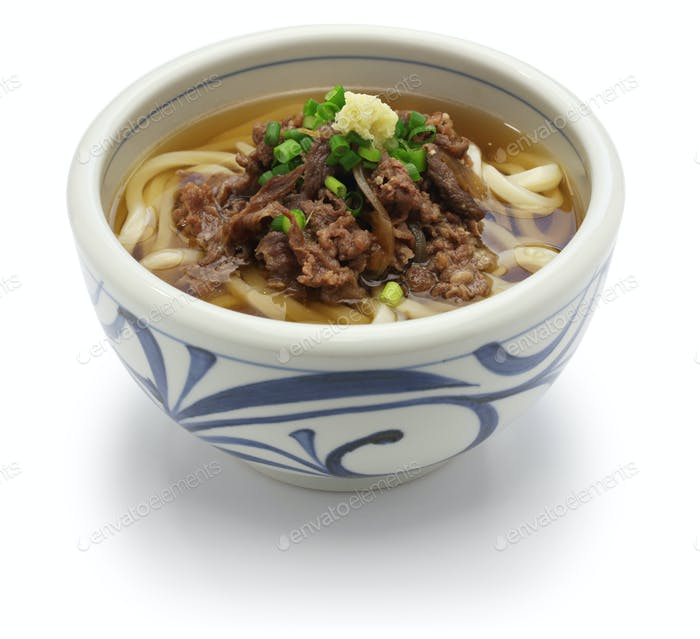 niku udon, japanese udon noodles with simmered beef