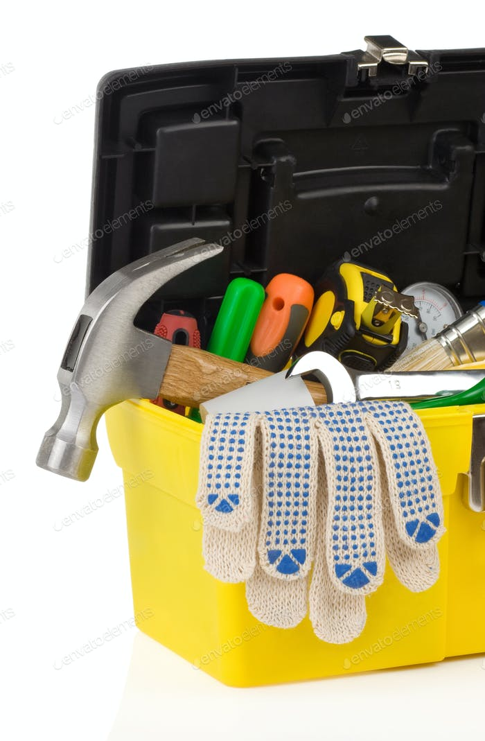 kit of tools and box  on white