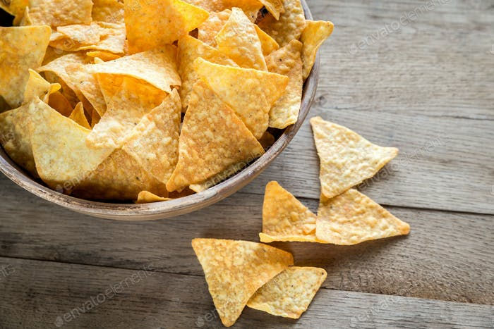 Cheese nachos in the bowl