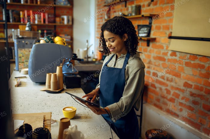 Female barista in apron take orders in cafe