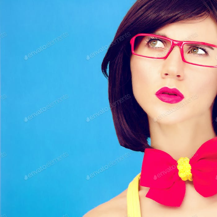 colorful photo a thinking girl