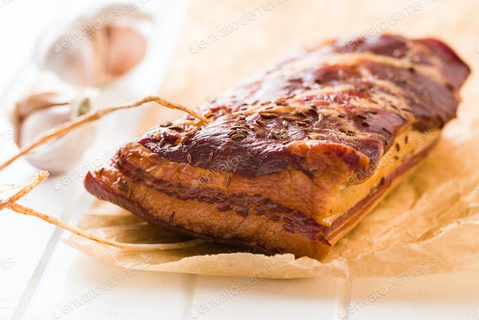 Tasty smoked bacon.