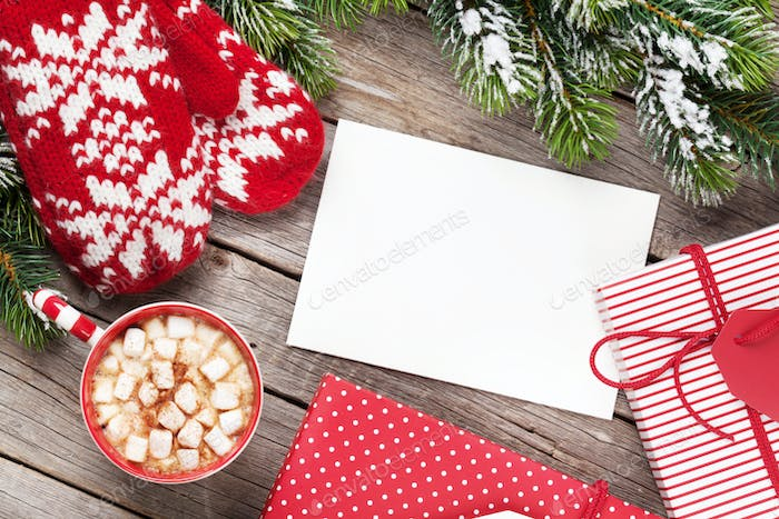Christmas greeting card, tree, mittens and hot chocolate