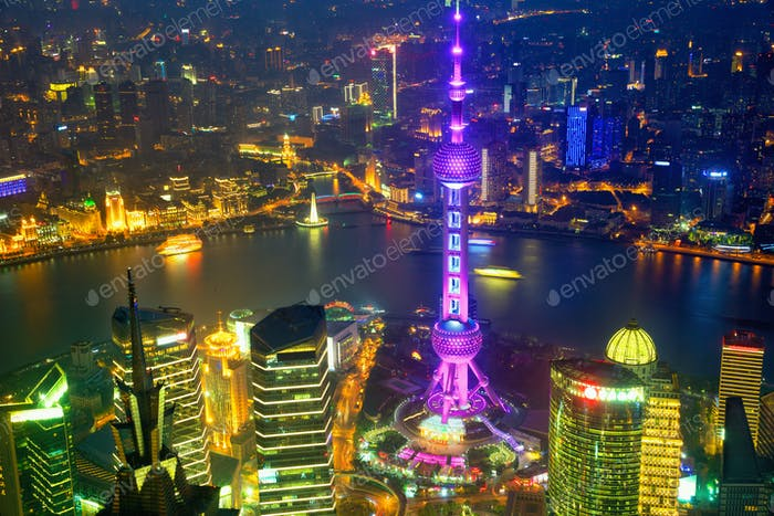 Shanghai aerial night view