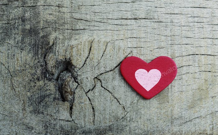 Heart symbol on wood