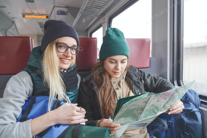 Two women travelers on the train