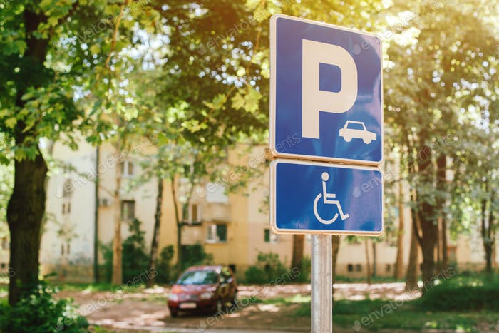 Handicap parking spot sign, reserved lot space for disabled pers