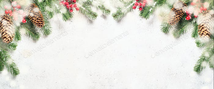 Christmas flatlay background with fir tree brunch and red decora