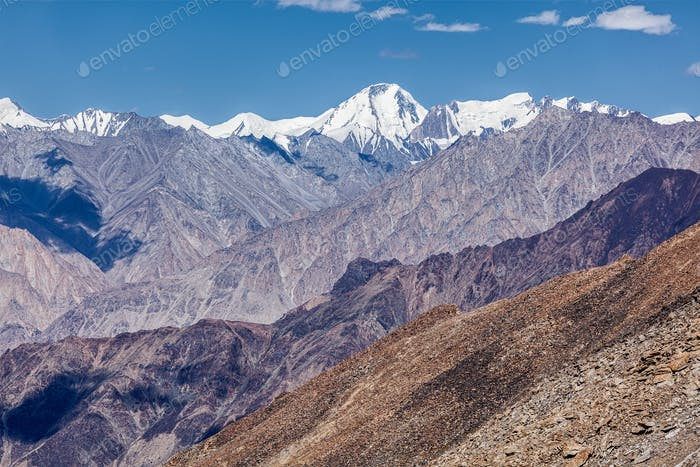 Karakorum Range mountains in Himalayas