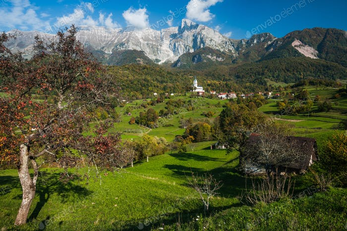 Panoramic vista over Dreznica village in Julian Alps, Slovenia