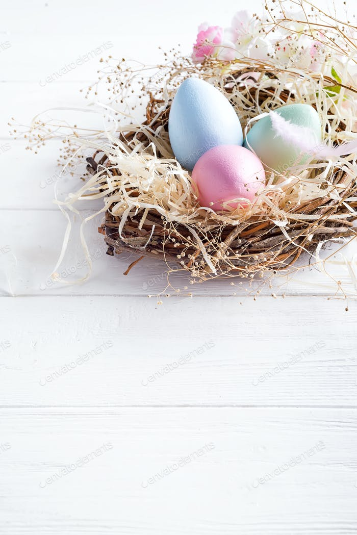 colorful easter eggs in small nest with on white wooden background, copy space. Holiday event
