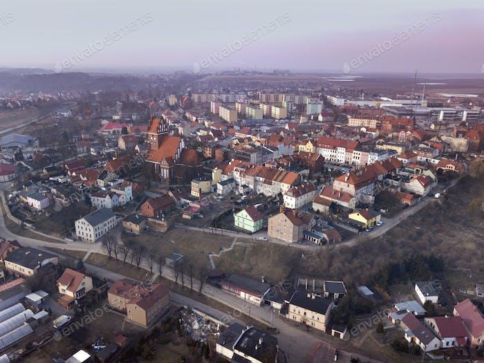 Aerial panorama of Gniew