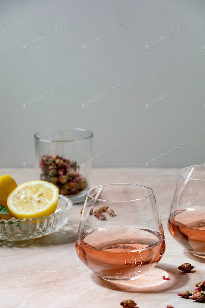 Pink rose champagne or lemonade
