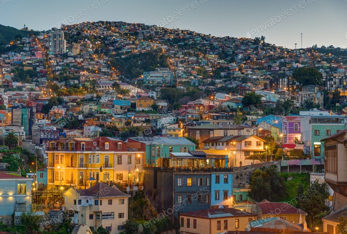 View over Valparaiso at dusk