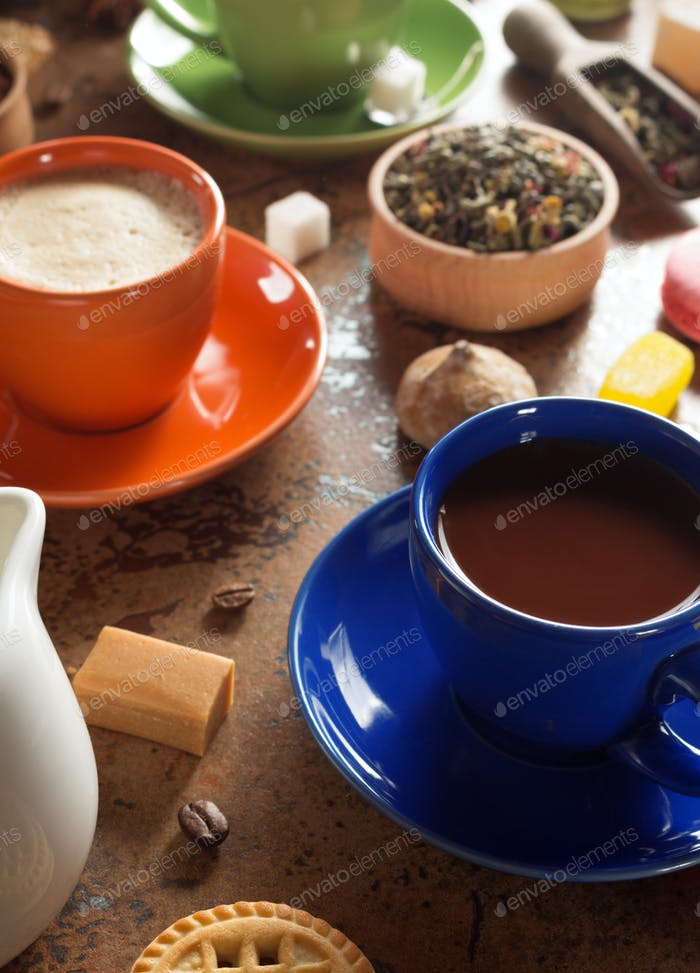 cup of cacao and coffee at table