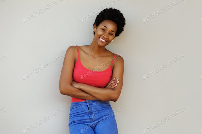 Stylish young african woman posing confidently