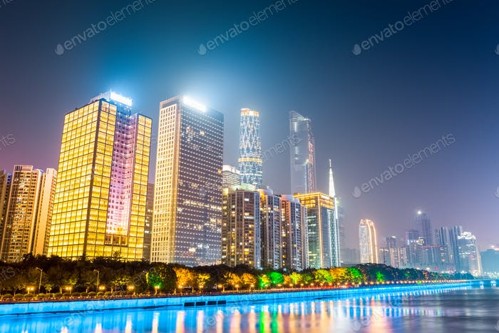 modern buildings at night in guangzhou