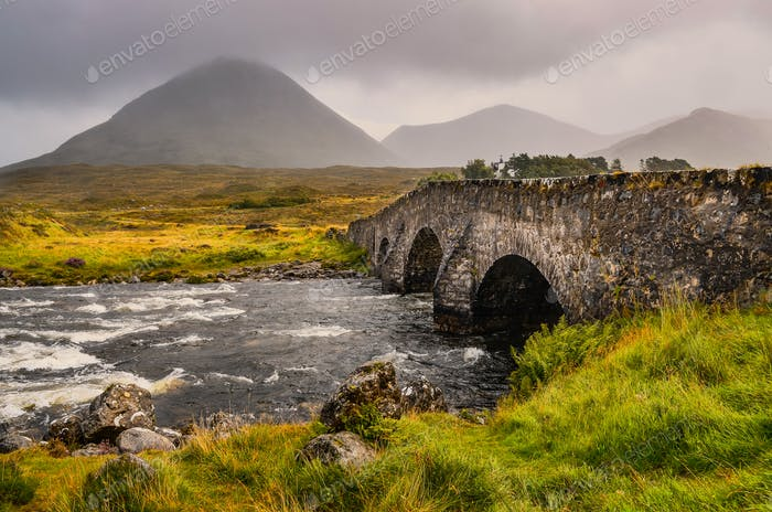 Bridge on Sligachan with Cuillins Hills in the background, Scotland