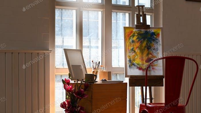 Photo of art studio in morning light.