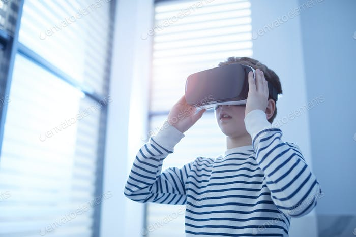 Caucasian Boy With VR Headset