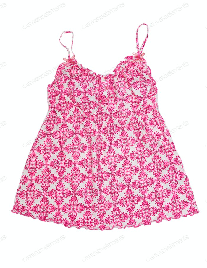 Baby dress with a bright red pattern.