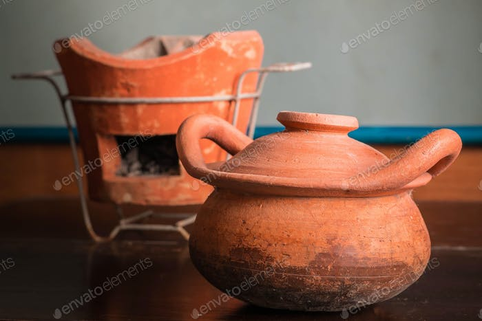 Clay pots on old wood