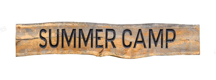 Isolated Wooden Summer Camp Sign