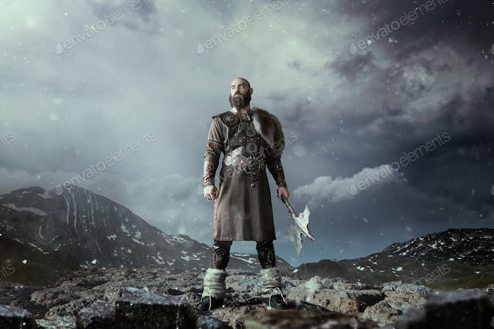 Viking with axe standing in rocky mountains