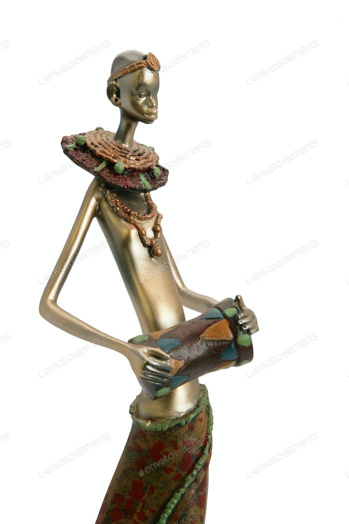 Tribal figurine holding drum