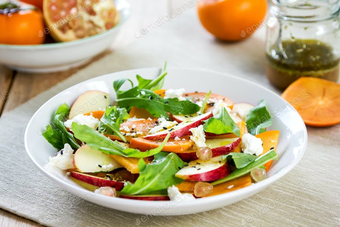 Apple with Persimmon and Feta salad