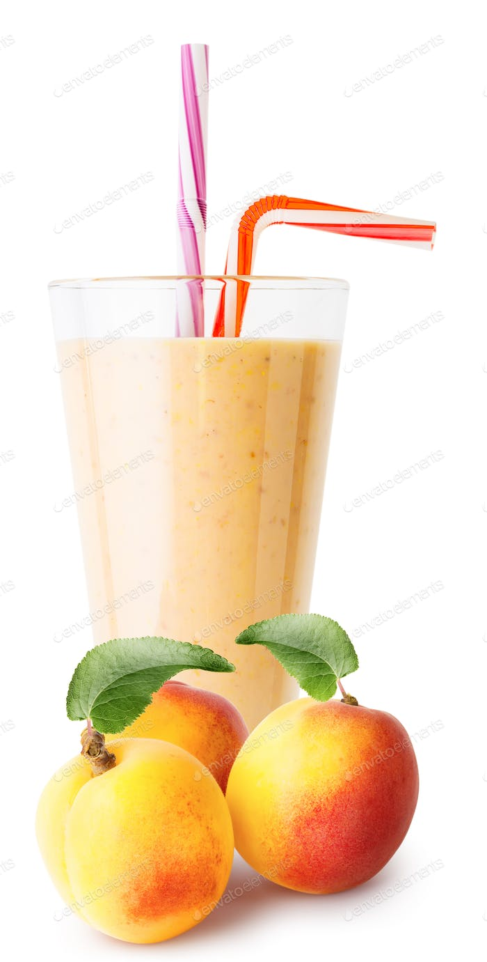 Glass of apricot smoothie or yogurt with apricots