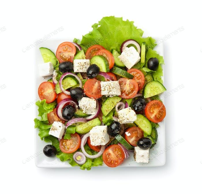 Draufsicht von griechischem Salat